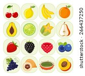 set of different kinds of fruit ... | Shutterstock .eps vector #266437250