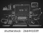 vector illustration desktop... | Shutterstock .eps vector #266441039