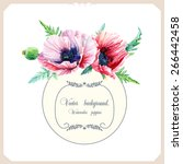 round frame of watercolor pink... | Shutterstock .eps vector #266442458