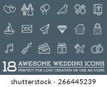 set of vector wedding love... | Shutterstock .eps vector #266445239