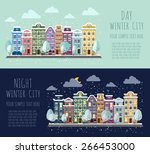 day and night winter city.  | Shutterstock .eps vector #266453000