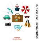 set journey. items and objects... | Shutterstock .eps vector #266455970