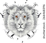 lion king of beasts in the... | Shutterstock .eps vector #266468396