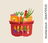 flat vector shopping basket... | Shutterstock .eps vector #266470520