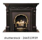 Luxury black fireplace isolated on white background. - stock photo
