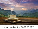 morning cup of coffee with... | Shutterstock . vector #266521220