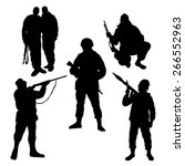 soldiers silhouettes set | Shutterstock .eps vector #266552963