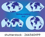 different world map projection... | Shutterstock .eps vector #266560499