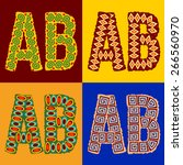 vector set of ethnic font with... | Shutterstock .eps vector #266560970
