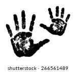Woman's And Child's Handprints. ...