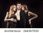 handsome man surrounded by... | Shutterstock . vector #266567033