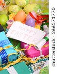easter background with eggs ... | Shutterstock . vector #266571770