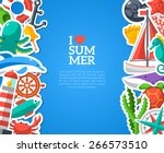 summer concept with flat icons. ... | Shutterstock .eps vector #266573510