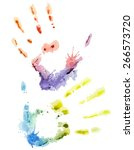 vector colorful watercolor hand | Shutterstock .eps vector #266573720
