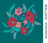 beautiful flower background art.... | Shutterstock .eps vector #266577638