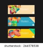 set of banners with stickers ... | Shutterstock .eps vector #266578538