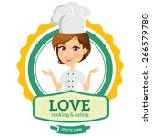 love cooking and eating logo... | Shutterstock .eps vector #266579780