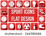 set of square sport icons with... | Shutterstock .eps vector #266580686