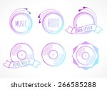 set of music labels with...