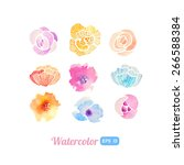 set of watercolor floral... | Shutterstock .eps vector #266588384