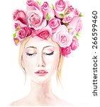 girl in flowers | Shutterstock . vector #266599460