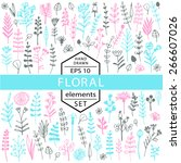 vector set of floral elements... | Shutterstock .eps vector #266607026