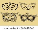 venice carnival mask hand drawn ...   Shutterstock .eps vector #266613668