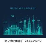 kuala lumpur city skyline... | Shutterstock .eps vector #266614340
