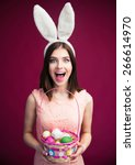 Happy Young Woman With Bunny...
