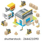 vector isometric icon set... | Shutterstock .eps vector #266621090