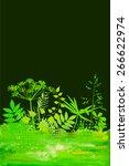 watercolor background grass.... | Shutterstock .eps vector #266622974