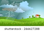 dramatic landscape with... | Shutterstock .eps vector #266627288