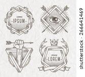 tattoo style line art emblem... | Shutterstock .eps vector #266641469