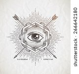 abstract tattoo style line art... | Shutterstock .eps vector #266642180