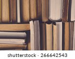 stack of used old books in the... | Shutterstock . vector #266642543