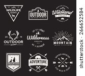 vector set of wilderness and nature exploration vintage  logos, emblems, silhouettes and design elements. outdoor activity symbols with grunge textures | Shutterstock vector #266652584