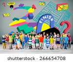 kids maze puzzle game fun... | Shutterstock . vector #266654708