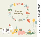 birthday card with africa... | Shutterstock .eps vector #266672288