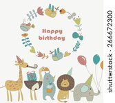 birthday card with africa... | Shutterstock .eps vector #266672300