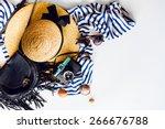 top view of summer accessories... | Shutterstock . vector #266676788