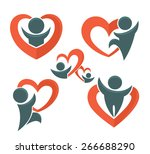 vector love  people and hearts... | Shutterstock .eps vector #266688290