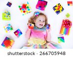 happy laughing little girl ...   Shutterstock . vector #266705948