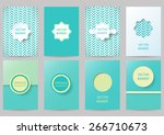 set of brochures in vintage...   Shutterstock .eps vector #266710673