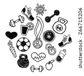 sport hand drawn set vector... | Shutterstock .eps vector #266715206