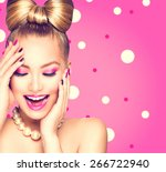 beauty fashion happy model girl ... | Shutterstock . vector #266722940