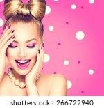 beauty fashion happy model girl ... | Shutterstock . vector #266722940