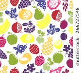 fruits and berries seamless... | Shutterstock .eps vector #266727548