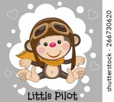 Cute Cartoon Monkey In A Pilot...