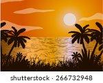 sunset in the ocean. beach and... | Shutterstock . vector #266732948