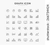 36 graph and diagram line icons | Shutterstock .eps vector #266734424